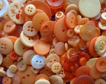 Orange Sewing Button Mix 5 to 30mm