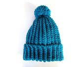Beanie chunky pom pom winter hats skull caps beanies unisex toque women's accessories crochet knit handmade