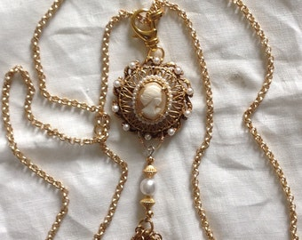 3-in-1 Necklace Repurposed Cameo Brooch super long or double matte gold chain Tassel Pearls Versatile original assemblage Ornate WishAnWear