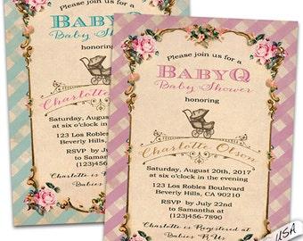 Baby q shower invitations