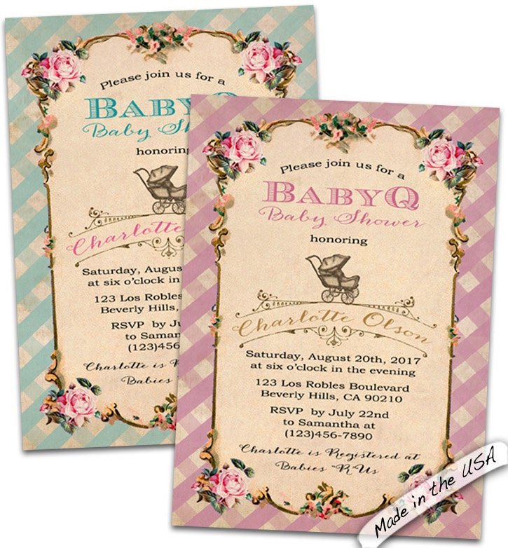 baby q gingham invitation baby q shower by cupiddesigns on etsy