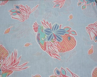 Vintage Sheer Cotton Gauze Scarf Fabric, Blue Pastel Parrot Bird Fabric, Island Flowers Floral Summer, Curtain Fabric Material 3 yards