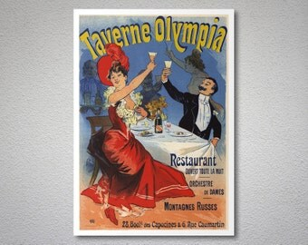 Taverne Olympia Entertainment Poster by Jules Cheret - Poster Paper, Sticker or Canvas Print