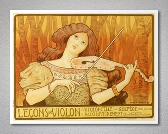 Leçons de Violin Vintage Music Poster by Paul Berthon - Poster Paper, Sticker or Canvas Print