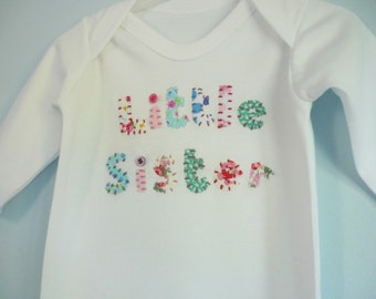 Little sister sleepsuit - Little sister babygro - new baby girl gift - baby girls clothes