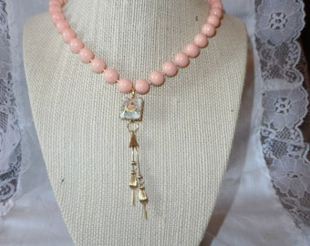 Vintage Peach Assemblage Necklace