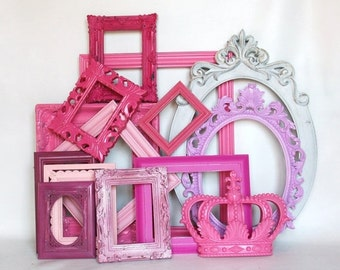 SALE Pink Ornate Frame collection gallery wall little girls room or nursery