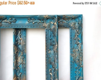 SALE Ornate frames Turquoise blue Picture frames French antique wedding