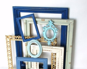 SALE Frame collection upcycled  repurposed open back frames beach decor  French country chic