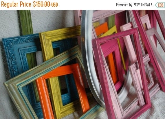 SALE Custom Make your set of 15 frames, wedding,shabby chic,distressed frames