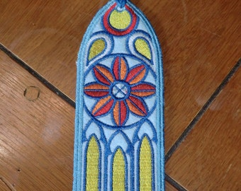 Embroidered Bookmark - Stained Glass