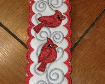 Embroidered Bookmark - Cardinals