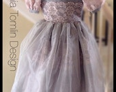 flower girl silk organza pink freshwaterpearls lace tulle platinum and pinkfull skirt size6x classicstyling petticoat