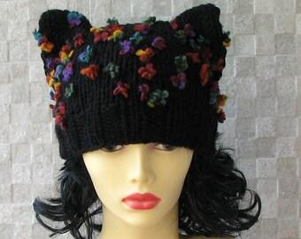 Knit  Hat Cat Ears Hat Cat Beanie beanie hat  Slouch Beanie womens slouchy Cat in Black