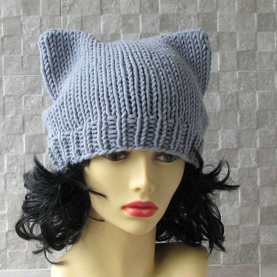 Cat Ears Beanie Knitting Knit Hat Kitty Cat Ear by AlbadoFashion