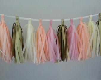 Tissue Paper Tassel Garland - Parties decor//Backdrop decor//Receptions//Baby Shower Decor//Weddings Decor