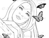 Autumn Whispers - digital stamp, colouring page, printable, instant download