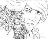 Auburn Beauty - digital stamp, colouring page, printable, instant download