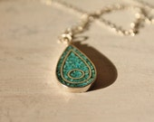 Vintage Sterling Silver Navajo Turquoise Tear Drop Pendant