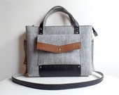 Gray Black Wool Felt Genuine Leather Handbag Bag