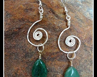 Sterling Silver and Green Aventurine Dangle Earrings with Hammered Sterling Silver Spiral