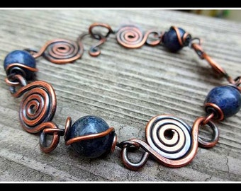 Antiqued Copper Spiral Bracelet with Dakota Stones Blue Dumortierite Beads