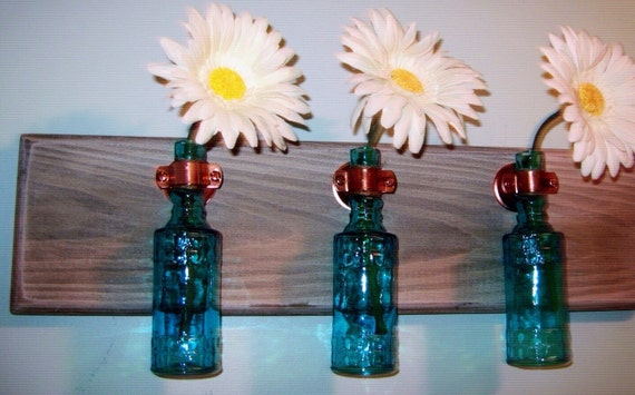 Colored glass bottles rustic wall decor kitchen decor for Colored bottles for decorations