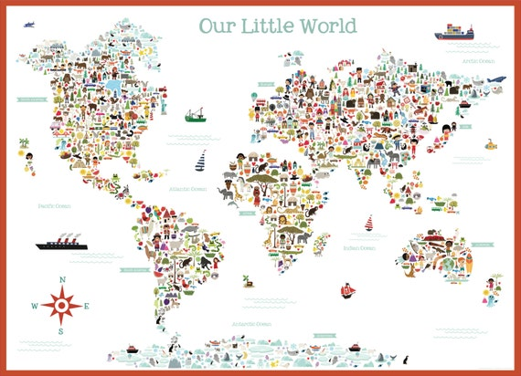 Cute Illustrated Art Multi Cultural World Map Wall POSTER Mural by K.Renee - Digital Instant Download
