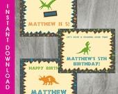 "Dinosaur Party, Self Editable Party Signs, INSTANT DOWNLOAD, 8.5"" x 11"" Dinosaur Birthday Printable, Digital Pdf File, Boy Birthday"