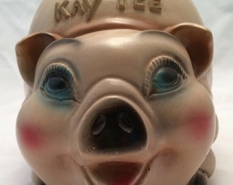 Kay-Tee Chalkware Piggy Bank by Silvestiri Bros - 1962 - Excellent Vintage Condition!