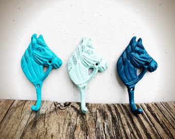 BOLD set of three little horse wall hooks // ombre blues turquoise teal seafoam // key towel coat hook // rustic shabby chic french country
