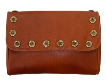 SALE - 20% MOSCHINO by Redwall 1980s Vintage Statement Clutch Bag Handbag Purse Brown Pebbled Leather