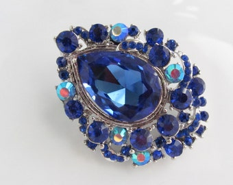 Royal Blue Rhinestone Brooch Blue Bridal Brooch Crystal Brooch Component / RBR-56 Blue