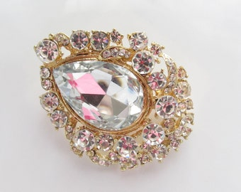 Gold Rhinestone Brooch/  Gold Bridal Brooch Crystal Brooch Component / RBR-56 Clear