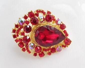 Red Rhinestone Brooch / Red Bridal Brooch Crystal Brooch Component / RBR-56 Red