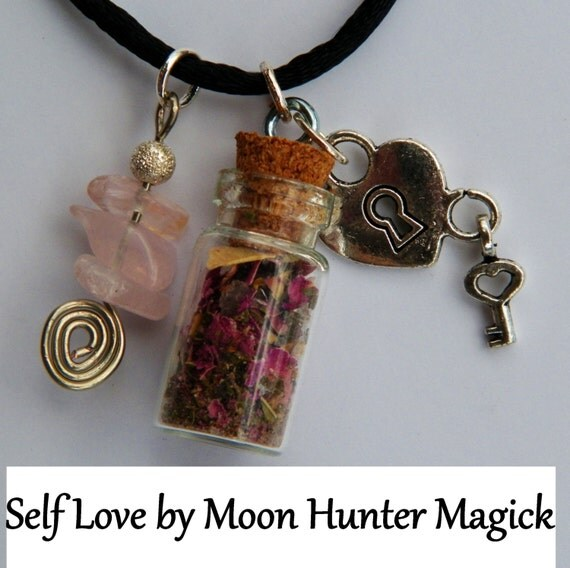 Self Love Self Esteem Charm Bottle Necklace Pagan Wicca Reiki Ritual Confidence Amulet