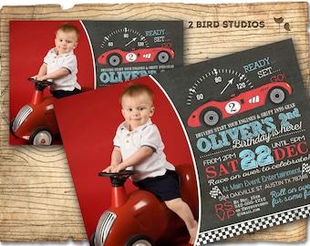 Race car birthday invitation - Race car invitation - Boys birthday invitation - Chalkboard race car party invite - You print vintage style