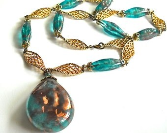 Handblown Glass Pendant drop Necklace  translucent  teal blue glass &  golden copper shadings c1960
