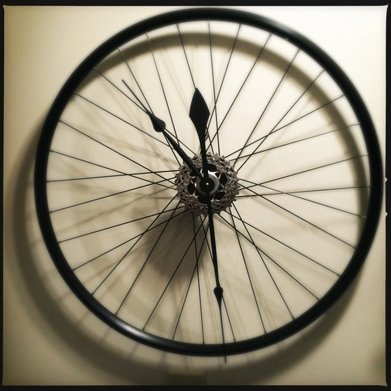 Bike Design Wall Clock : Bike wheel clock large wall bicycle