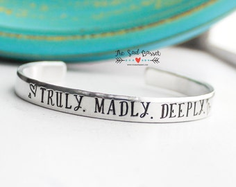 Truly. Madly. Deeply. Submarine Cuff Bracelet | Military Jewelry | Submariner Jewelry | Navy Cuff | Hand Stamped Jewelry | Submarine Jewelry