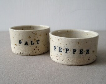 Modern Salt and Pepper Bowl Set, Speckle Stoneware Clay, Hand Thrown Pottery