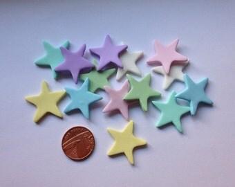 Clay Flatback star stars twinkle embellishments deco topper pk of 10