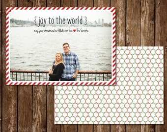 Joy To The World Candy Cane Photo Christmas Card