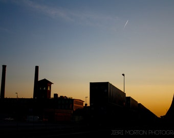 Warehouse Sunset + Street photography + Sunset + Traintracks + 5x7 print