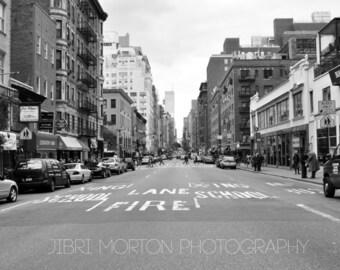 Fire Lane + New York City Street + Black & White + 5x7 print