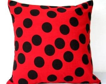 20x20 pillows, Red Black Polka Dot Cushion Cover, Red Black Pillow, Pillow Cover, Cotton Pillow, Accent Pillow, Toss Pillow, Vintage Style