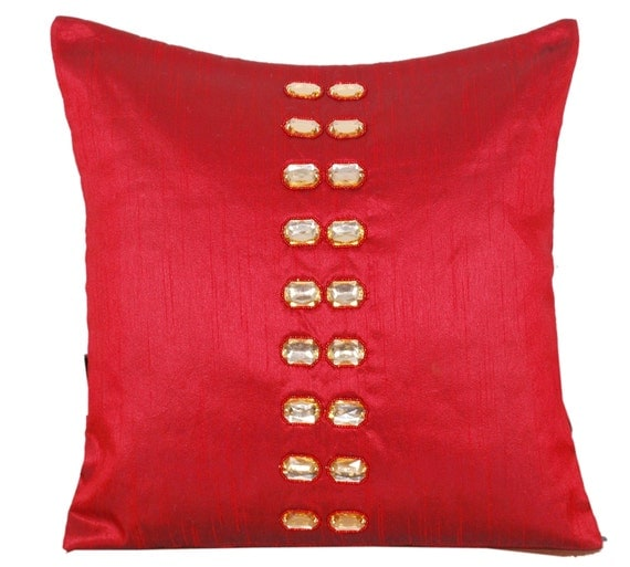 Crystal Throw Pillow Embellished Pillow Silk Pillow Cover
