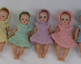 "Knitted outfits, priced separately, for 8"" Madame Alexander Fischer quints quintuplets. NO DOLLS INCLUDED"