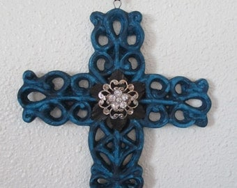 Porcelain filigree hand painted distressed (aged) cross