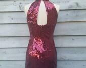 Vintage Sequin Short Body Con Disco Dress Open Back